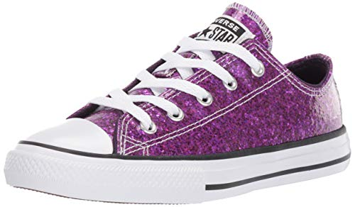 Converse Girl#039s Chuck Taylor All Star Glitter Low Top Sneaker Grand Purple/Black/White 12 M US Little Kid
