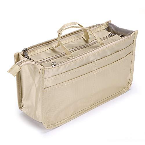 IGNPION - Bolsa organizadora para interior de bolsos de mano, estampada, 13bolsillos, extensible, con cierre de cremallera, bolsa organizadora para bolso de pañales, con asa (color beige)