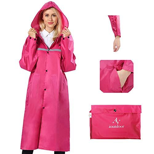 Regenmantel 100% Wasserdicht, der Extra Lange Regenschutz mit Taschen / Reflexstreifen / Kordelzughauben / Reißverschluss / Knopf, 3 Farben, 3 Größen