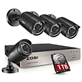 ZOSI Security Cameras System 8CH 4-in-1 5MP Lite CCTV DVR Recorder & 4pcs 1080P HD Weatherproof Surveillance Cameras with Night Vision,Remote Access