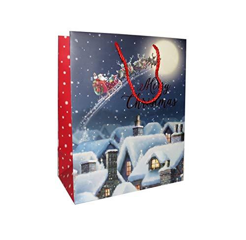 6 stuks grote vliegende kerstman op slee kerstcadeauzakjes met rode geschenkzakjes