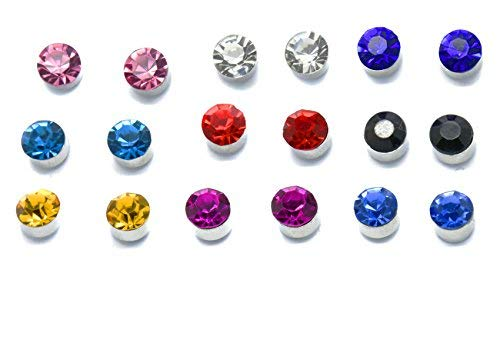 9 Set Magnetic Earrings Colourful Crystal Stud for Girls