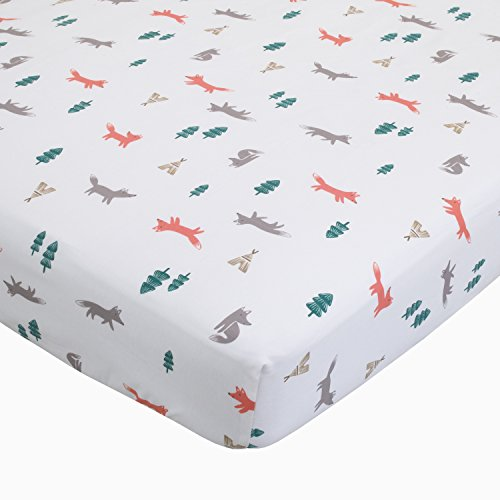 "Carter's Fox Toss Cotton Sateen Crib Sheet - White, Orange - 52"" x 28"""