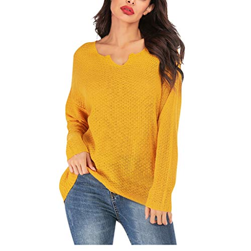 ANJUNIE Women Solid V Neck Pullovers Plus Size Blouse Sweater Top Loose Sweatshirt Coat(Yellow,XL)