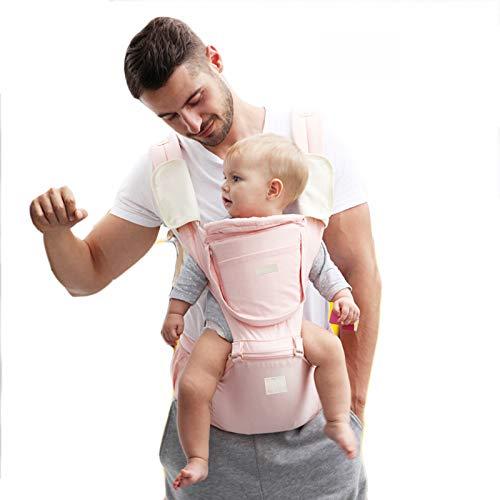 ThreeH Babytrage mit Hüftsitz 6 in 1 Tragepositionen Weiche ergonomische Babytrage mit Kapuze und Lätzchen BC28 Pink