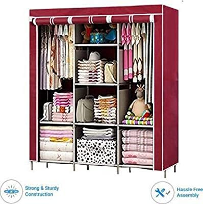 Saysha 6 + 2 Shelves 3 Door 88130 Maroon PP Collapsible Wardrobe (Colour - Maroon)