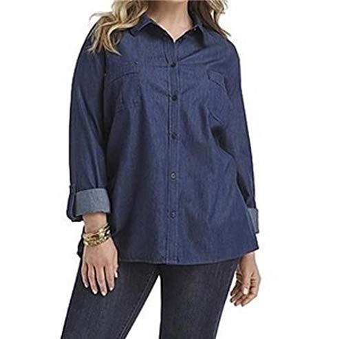 Laura Scott Women's Work Casual Day Night Cotton Denim Shirt top Tunic Blouse Plus Size 1X