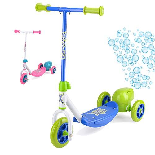 Xootz Kinder Bubble Scooter, 3-Rad-Tretroller mit Blasen-Gebläse, blau