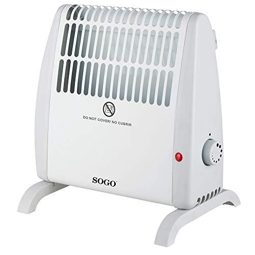 SOGO SS-18405 Calefactor Conveccion, Estufa Eléctrica Pequeña, Convector Con Termostato Ajustable para Bajo Consumo, 530 Watts Color Blanco