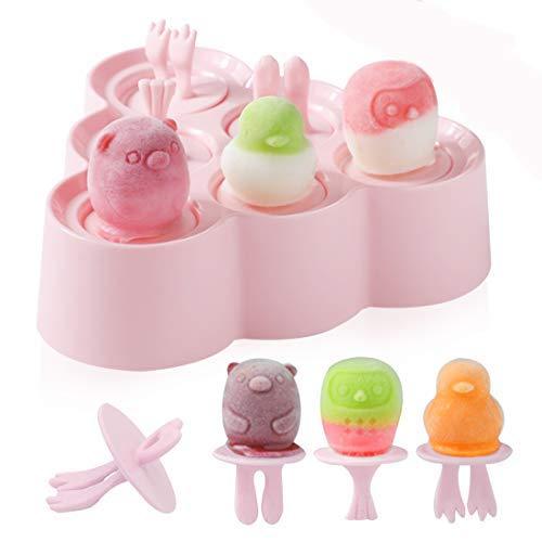 Eisform Silikon, 6 Eisformen BPA Frei, Eisförmchen Popsicle Formen Set, DIY Eis am Stiel, Stieleisformer LFGB Geprüft und BPA Frei, Mini Eisformen für Kinder, Baby