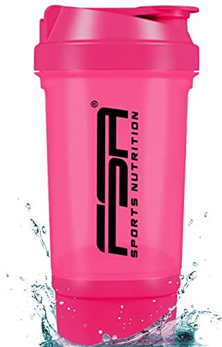 Proteína Shaker de 500 ml, con compartimento para los polvos de 100 ml, con tamiz, Botella Mezcladora, a prueba de fugas, BPA libre, FSA Nutrition - Rosa