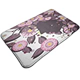 Bath Mat Non Slip,Portrait of Flower Girl with Floral Hair with Daisy Leaf Mother of Nature Concept,Ultra Absorbent Bathroom Rug