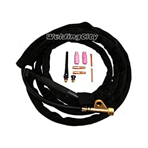 WeldingCity TIG Welding Torch WP-17FV-25R (Flexible/Gas-Valve Head) Complete Ready-to-Go Package Air-Cool 25-foot Cable 150Amp from WeldingCity.com