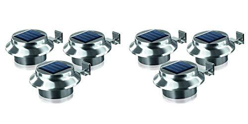TELE WELT LED Dachrinnenleuchten 6er-Set aus Edelstahl Zaunleuchte Wegelicht Solarleuchten