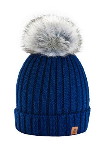 4sold Winter Cristallo Più Grande Pelliccia Pom Pom invernale di lana Berretto Delle Signore Delle Donne Beanie hat Pera Sci Snowboard di moda (Navy)