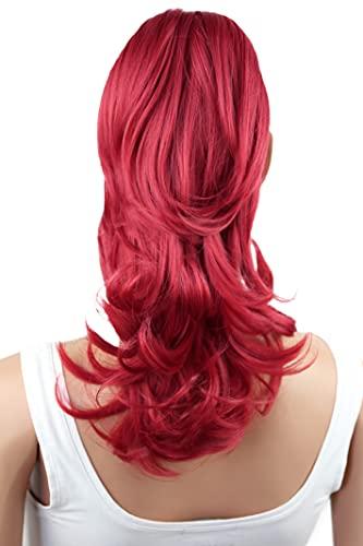 PRETTYSHOP 30cm Postiche Natte Queue De Cheval Extensions De Cheveux Volumineux Ondulé Rouge Intense H93