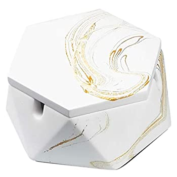 FREELOVE Concrete Ashtray with Lid & Steel Liner Ashtrays for Cigarettes Ash Tray Weed Car Outdoor Patio Home Cool Men Rolling  Gold Marble A