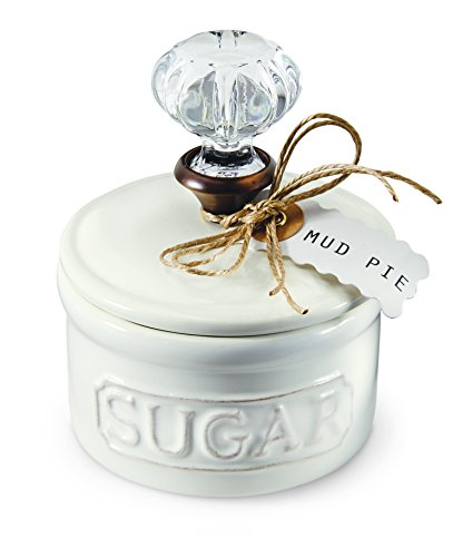 Mud Pie Door Knob Sugar Bowl, White
