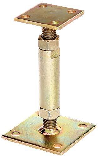 GAH-Alberts 212391 Pfostenträger | höhenverstellbar, zum Aufschrauben | galvanisch gelb verzinkt | Höhe 150 - 190 mm