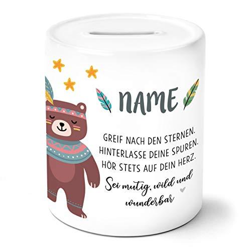 OWLBOOK Boho Bär Kinder Spardose Personalisiert mit Namen Geschenke Geschenkideen für Mädchen zum Geburtstag Weihnachten Einschulung Taufe Geburt Sparschwein