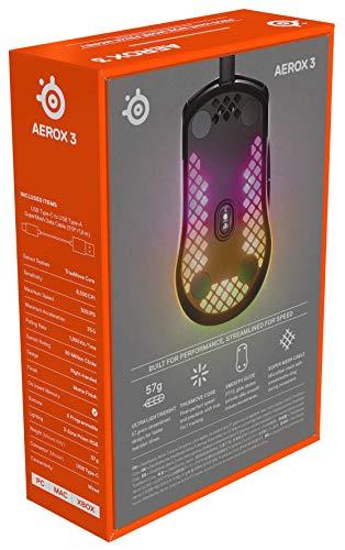 SteelSeries Aerox 3 - Superleichte Gaming-Maus - Optischer TrueMove Core Sensor mit 8.500 CPI- Ultraleichtes, wasserfestes Design - Schwarz - 12