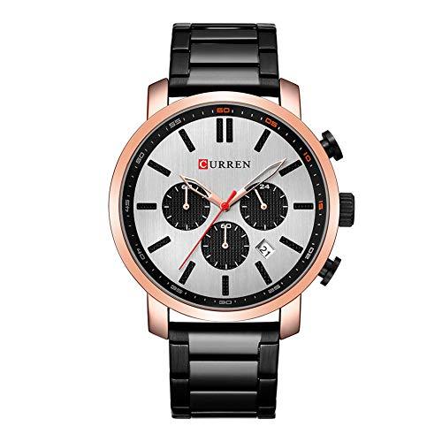 Curren Reloj de negocios para hombre con pantalla analógica de calendario de decoración de zona horaria y reloj de pulsera de acero dorado 8315