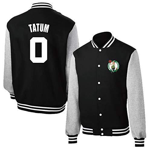 Jayson Tatum # 0 Camisa de la Chaqueta de béisbol, Boston Celtics Los Hombres de Manga Larga de Baloncesto Plus Fleece Camiseta Caliente (Color : Black, Size : M)
