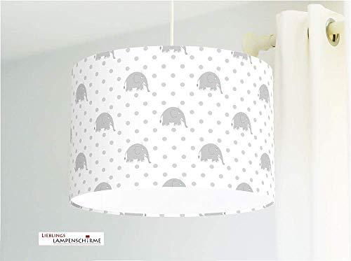 Kinderlampe mit Elefanten Punkte fürs Baby und Kinderzimmer grau Babylampe handgemacht