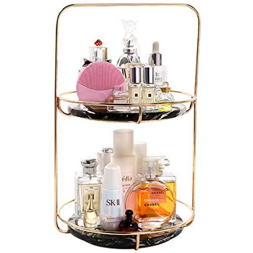 Coffres de rangement Boîte De Rangement Cosmétiques Porte-Bagages De Style Européen Porte-Parfum Produits De Soin De La Peau Finition du Présentoir Porte-Bijoux (Color : Gold, Size : 26 * 26 * 40cm)