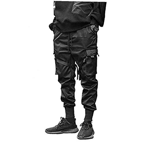 Pantalones de los Hombres Pantalones de los Guardapolvos de los Pantalones harén de Punk Hip-Hop Trotar Chicos Deportivo Negro