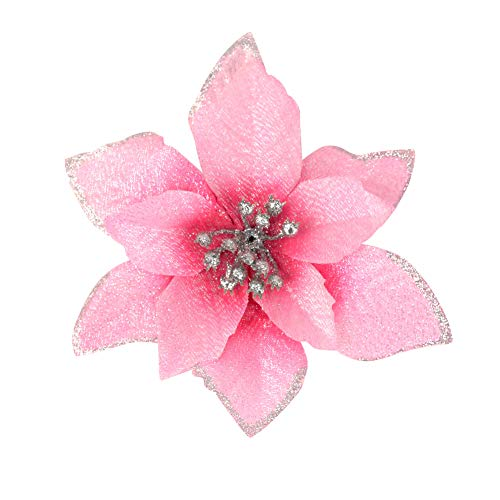 Gardeningwill 6Pcs 5 Inch Glitter Artificial Flowers with Ties