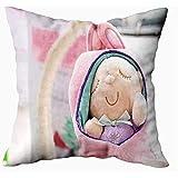 Mesllings Fundas de almohada de arte de 45 x 45 cm, linda muñeca de bebé durmiente, cesta de felpa, campo poco profundo, funda de almohada para el hogar