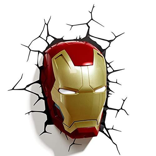 GUIYONGMY lámpara de Pared La Pared del LED 3D Lámpara del Dormitorio Sala de Estar Creativo luz de la Noche (Emitting Color : Iron Man Face)