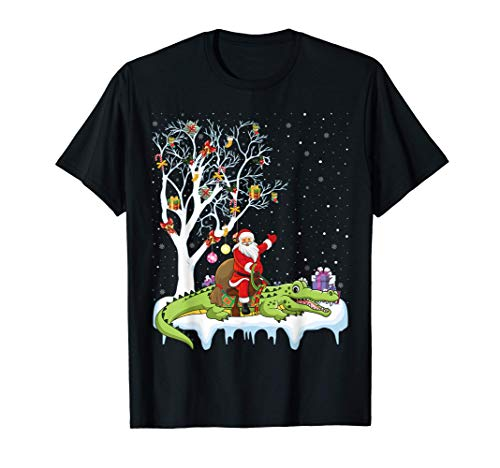 Alligator Lover Xmas Gift Santa Riding Alligator Christmas T-Shirt