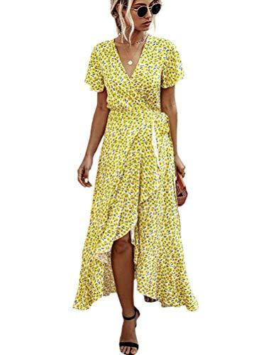 Onsoyours Rebajas Vestidos Mujer Casual Verano Vestidos Sexys Y Elegantes Moda Mujer 2019 Rebajas Vestidos Vestidos De Mujer Verano Vestidos De Fiesta Comuniones Vestidos C Amarillo Claro L