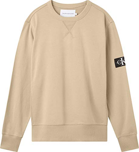 Calvin Klein Jeans Monogram Sleeve Badge Cn Sudadera, Travertino, M para Hombre