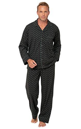 Pajamagram Mens PJ Set - Mens Cotton Pajamas, Black, XL