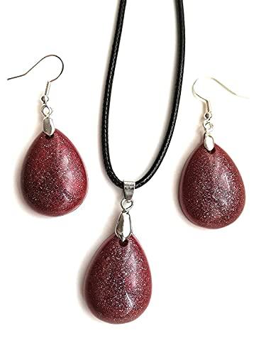 Colgante de resina roja y pendientes de gota set idea de regalo para mujer collar joyería hecha a mano bisutería