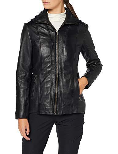 Urban Leather Damen Lederjacke mit Kapuze Sk1, Schwarz (Black), M