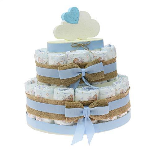 Viale Magico Idea de regalo original para primera infancia, tarta de pañales económicos para nacimiento, niño, baby shower, bebé (tarta de 30 pañales)