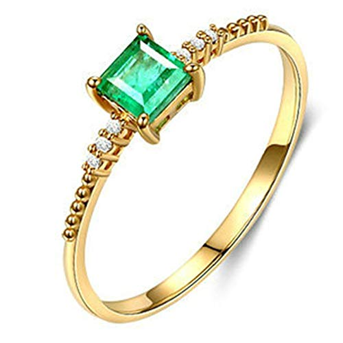 AmDxD Anillo de Oro 18 Kilates Mujer, Anillo Mujer San Valentín 4 Garras Cuadrada Esmeralda 0.06ct 3.5x3.5mm, Oro Amarillo, Tamaño 8 (Perímetro: 48mm)