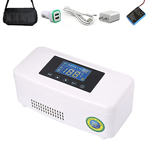 Insulin Kühlbox, Medikamente Kühlschrank, Elektro Kühler Tragbarer Reisebox Thermostat 2-8 Grad mit Insulin, Interferon, Wachstumshormon, Impfstoff, Augentropfen Für Sommer Reise Arbeit/Weiß