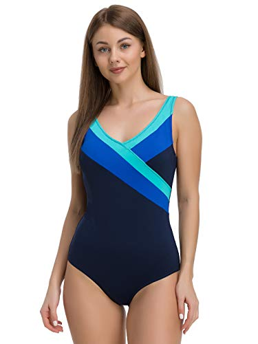 Levitex Women One Piece Swimsuit for Swimming (Blue, 40 (M))