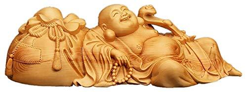 WQQLQX Statue Maitreya Buddha Statue Ruyi Hand Geschnitzte Lachende Buddha Statue Home Zubehör Feng Shui Puppe Desktop Autodekoration Home Office Crafts Statuette Skulpturen