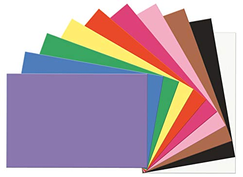 SunWorks Construction Paper, 10 Assorted Colors,  12' x 18', 100 Sheets