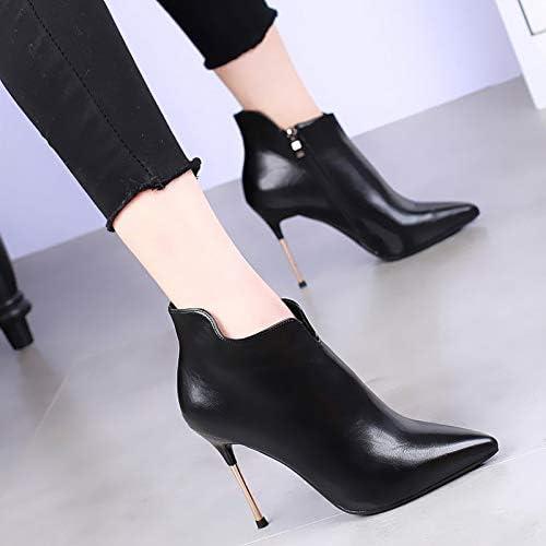 Shukun Botines Pointed High Heels Stiletto Skinny Martin botas mujer Autumn and Winter negro Wild Small Ankle botas