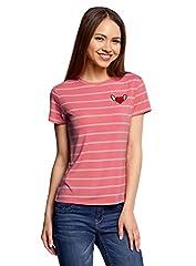 oodji Ultra Mujer Camiseta a Rayas con Bordado