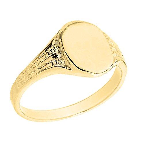 Pequeños Tesoros - Anillos Hombres 10 KT Oro 471/1000 Oro Amarillo Ovalada Engravable Sortija De Sello