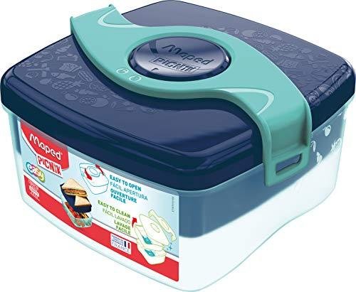 Maped Picnik Origins - Boîte à Déjeuner Repas Enfants Ouverture Facile - 2 Compartiments dont 1 Amovible - en Plastique Sans BPA ni Phtalates - Bleu Vert - 1,4L