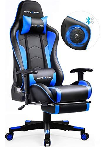 GTPLAYER Gaming Stuhl mit Fußstützen Bluetooth Lautsprecher Musik Stuhl Ergonomischer Computerstuhl Schreibtischstuhl Blau